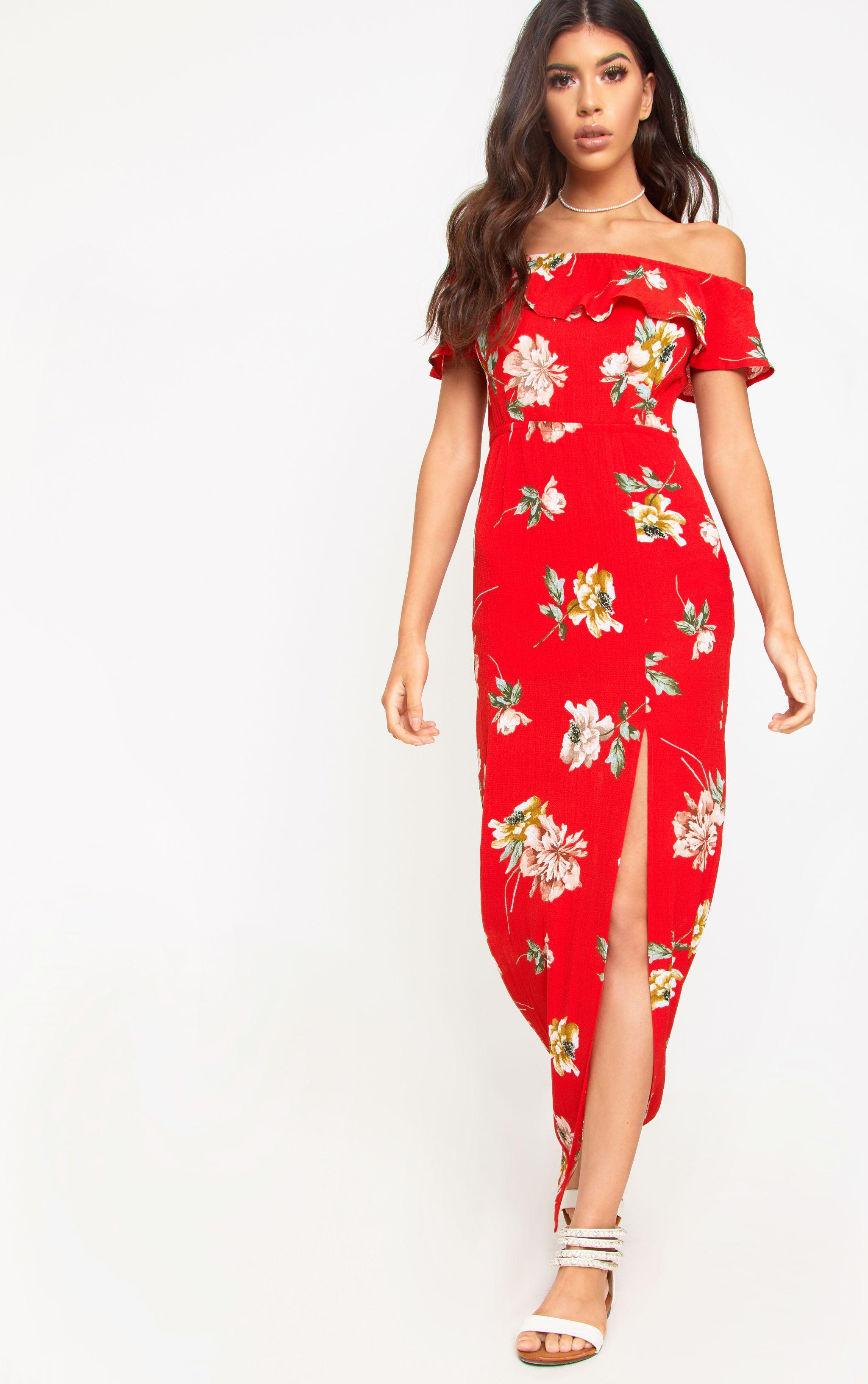 Red Floral Bardot Maxi Dress 1