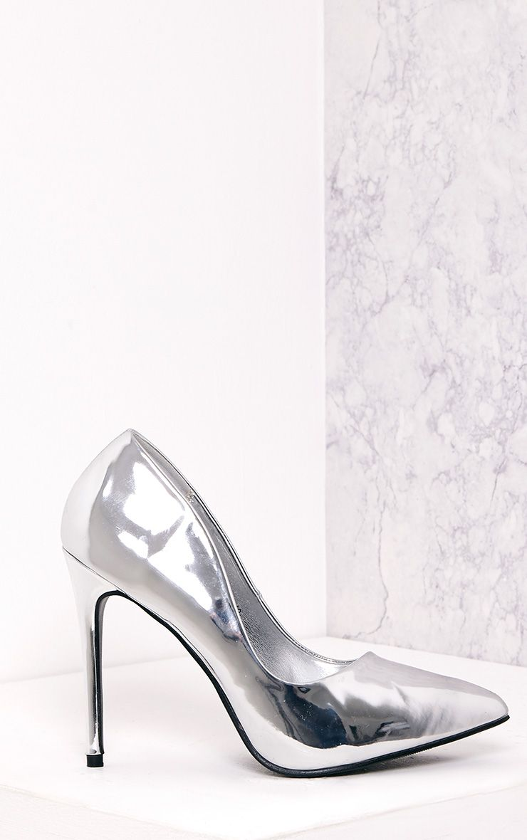 Deena Silver Metallic Patent Court Shoes