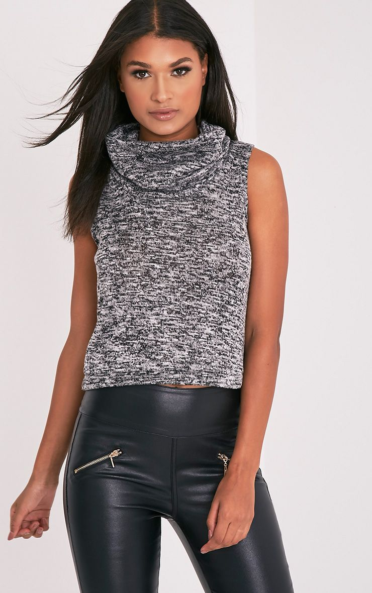 Owena Grey Sleeveless Cowl Neck Top