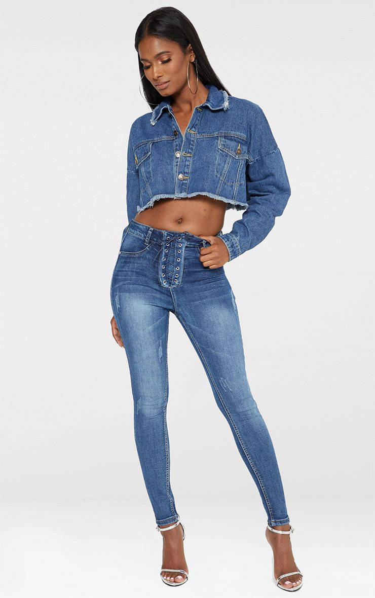 Mid Wash Lace Up Skinny Mid Wash Jean