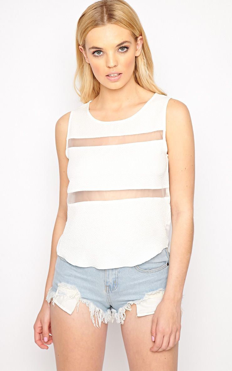 Adrianne White Mesh Stripe Top  1