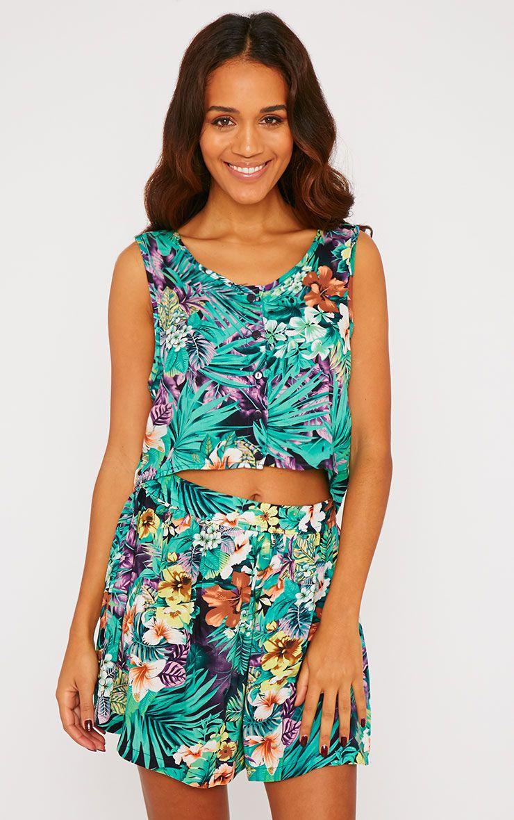 Paige Green Hawaiian Print Button Up Crop Top 1