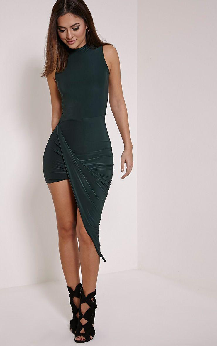 Prim Bottle Green Slinky Drape Slinky Asymmetric Dress 1