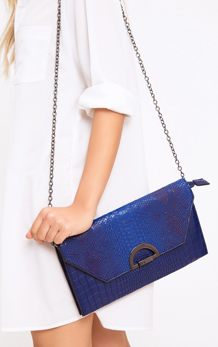 Blue Reptile Fold Over Clutch Bag