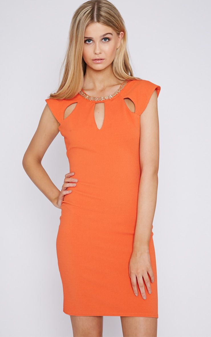 Helina Orange Embellished Neck Dress 1