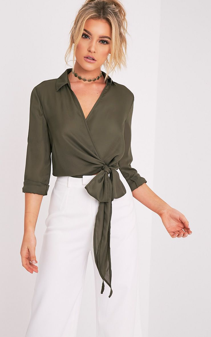 Avalyn Khaki Wrap Front Tie Side Blouse