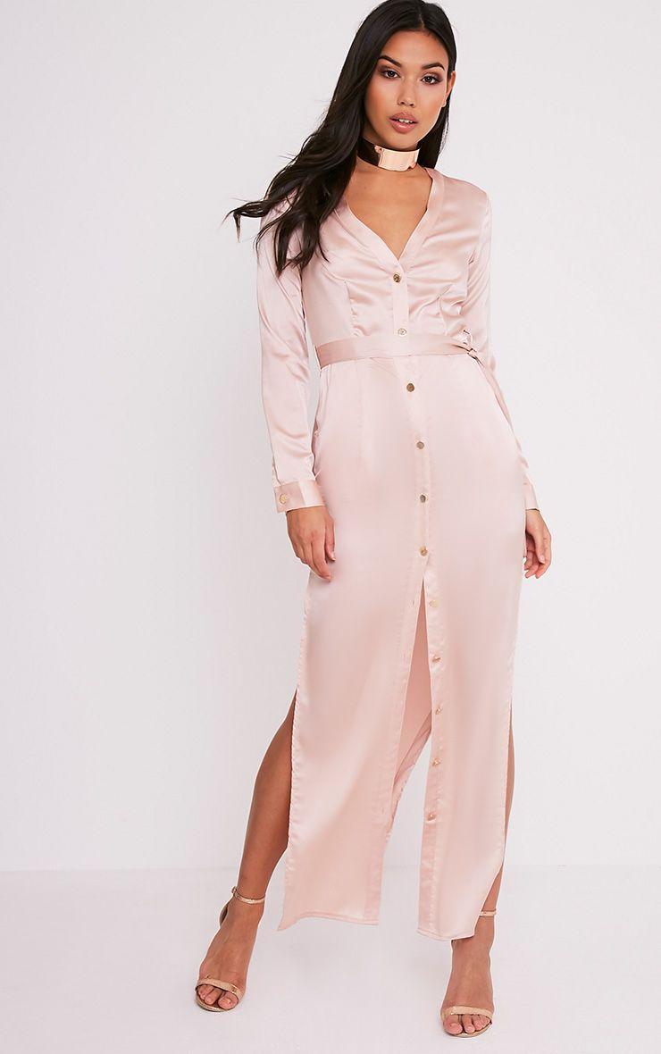 Clairia Champagne Button Down Silk Shirt Dress