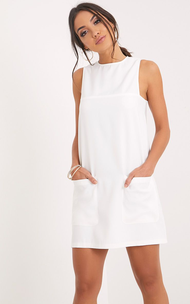 Madline White Pocket Detail Shift Dress