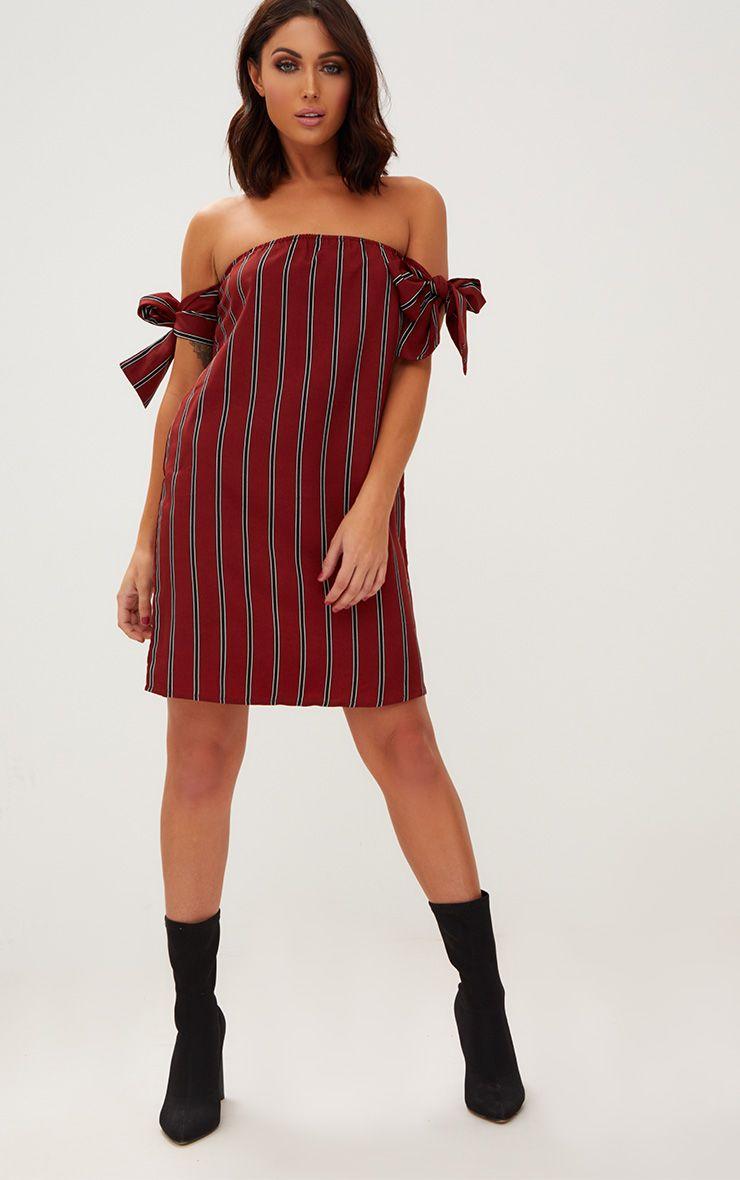 Rust Tie Sleeve Striped Shift Dress