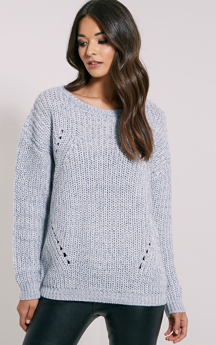 Frida Pale Blue Heavy Weight Knitted Jumper 1