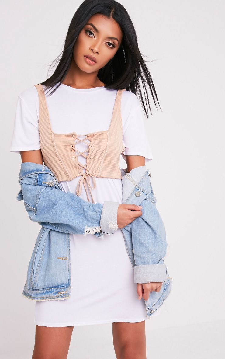 Leiha Nude Lace Up Corset Crop Top