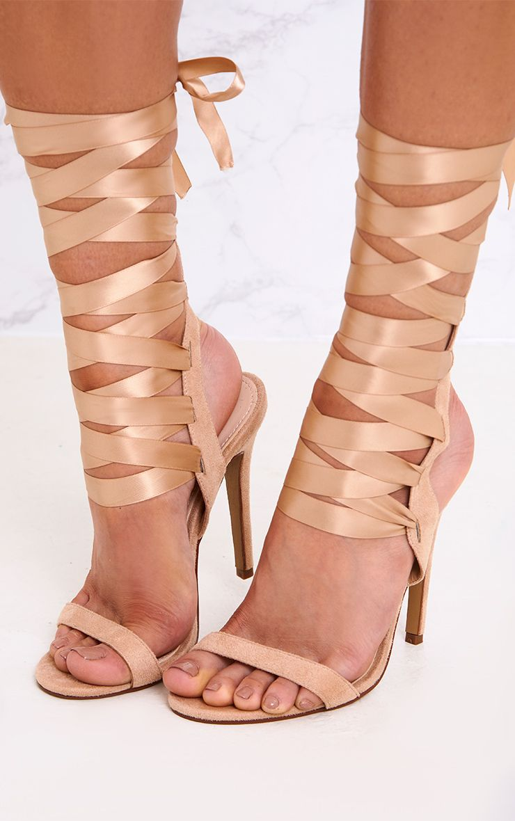 Lorele Nude Ribbon Lace Up Heeled Sandals