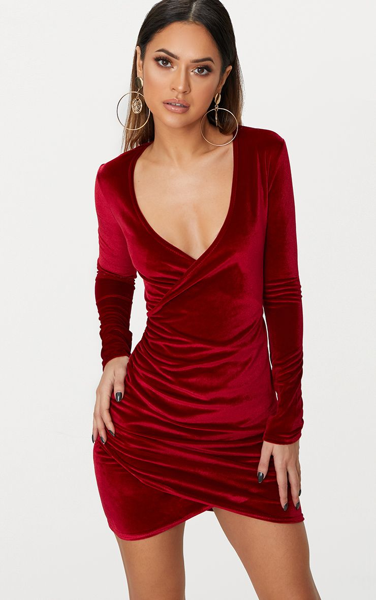 Burgundy Wrap Plunge Ruched Detail Bodycon Dress