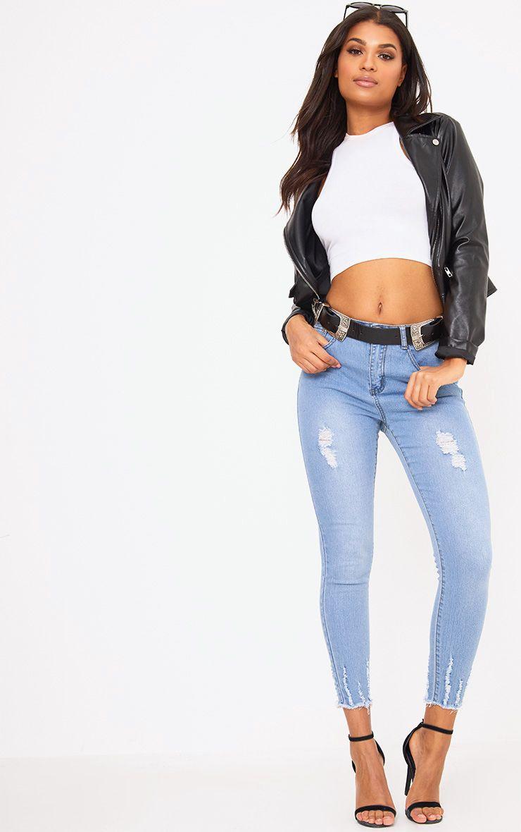 Super Light Wash Cut Hem 5 Pocket Skinny Jean