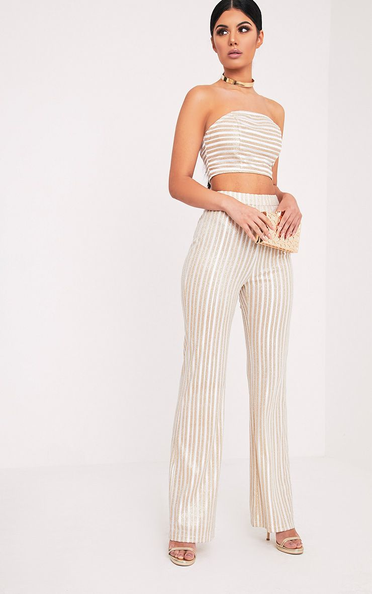 Lashelle White Sparkle Stripe Trousers