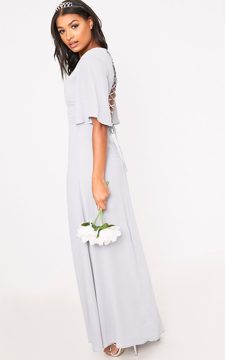 Lucilla Ice Grey Lace Up Detail Maxi Dress