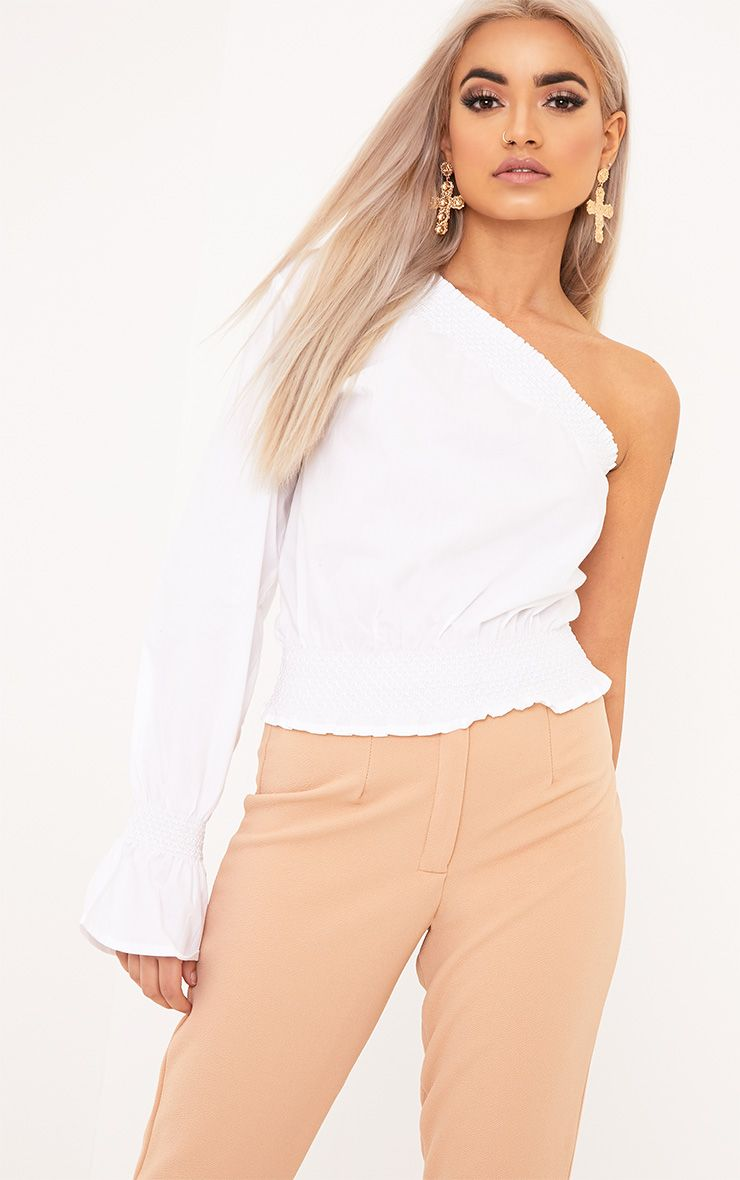 Macey White One Shoulder Smocked Cotton Blouse