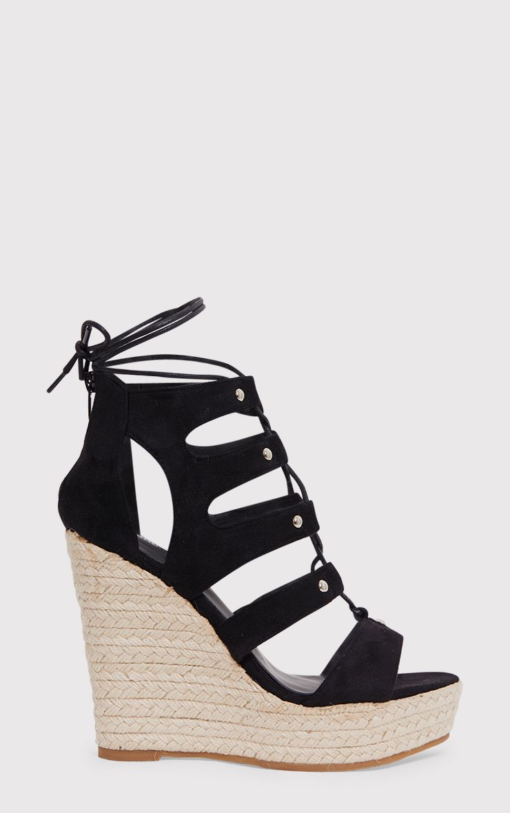 Louisella Black Lace Up Wedges