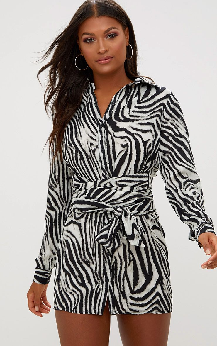 Black Zebra Tie Waist Shirt Dress