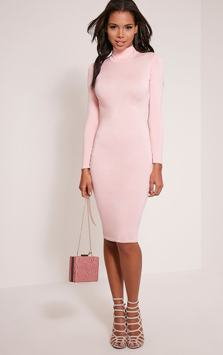 Basic Candy Pink Roll Neck Midi Dress 1