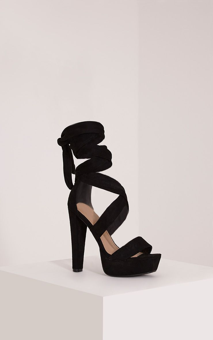 Tria Black Faux Suede Wrap Platform Sandals