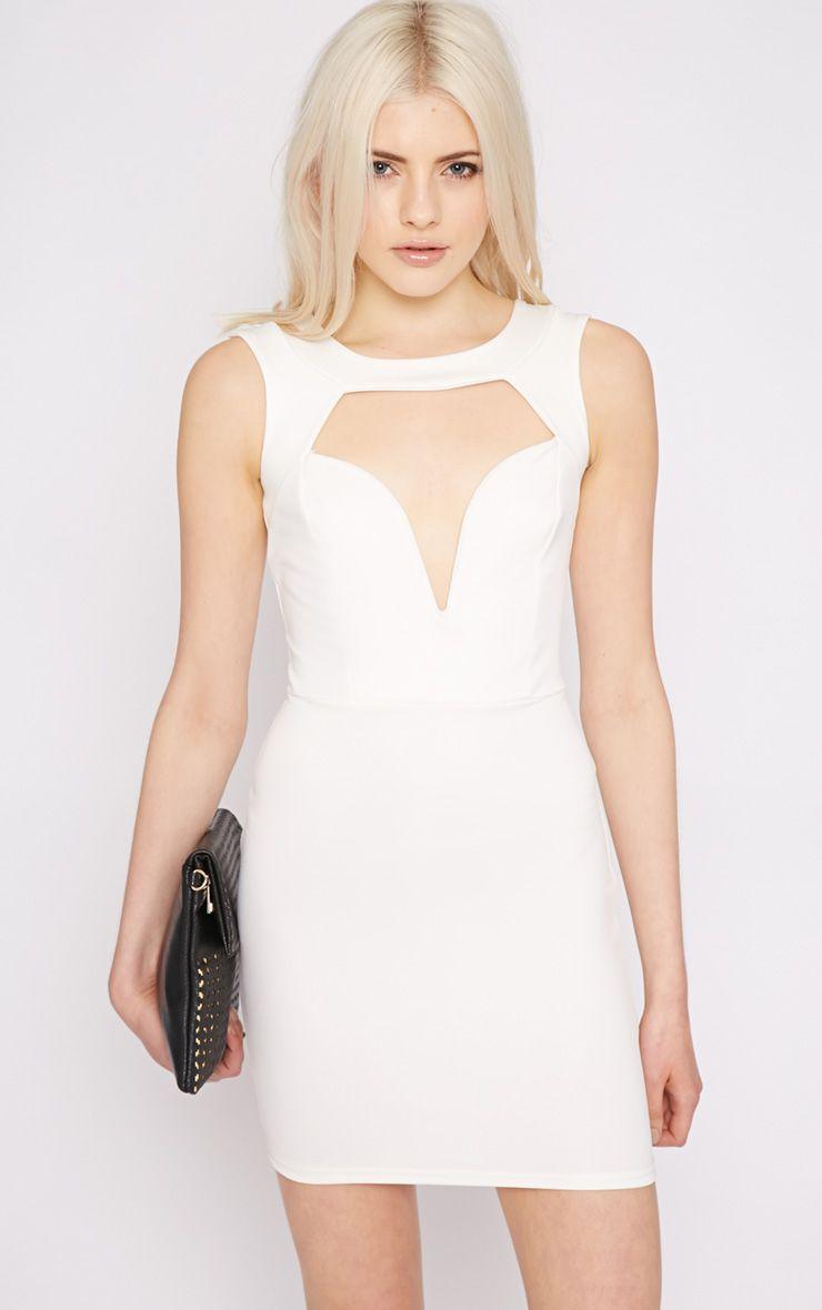 Adeline Cream V Front Structured Dress 1