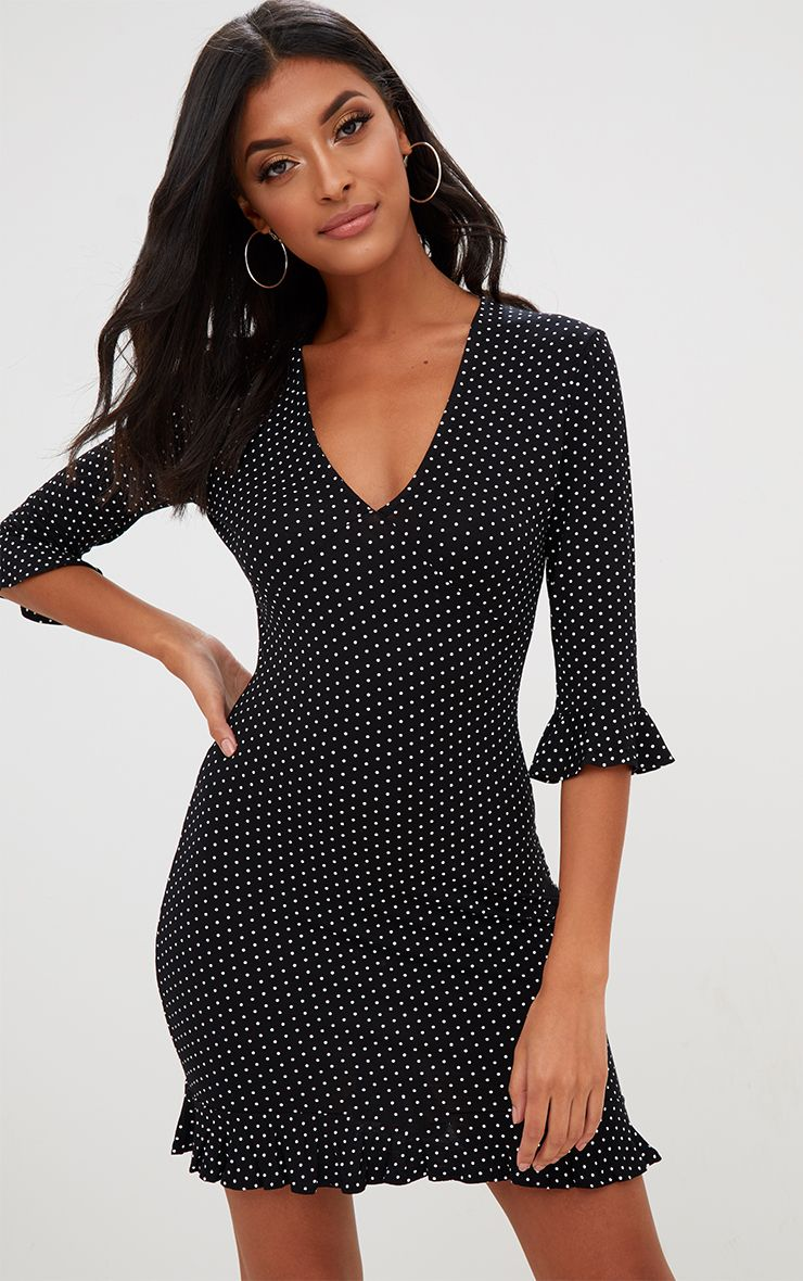Black Polka Dot Frill Hem Shift Dress