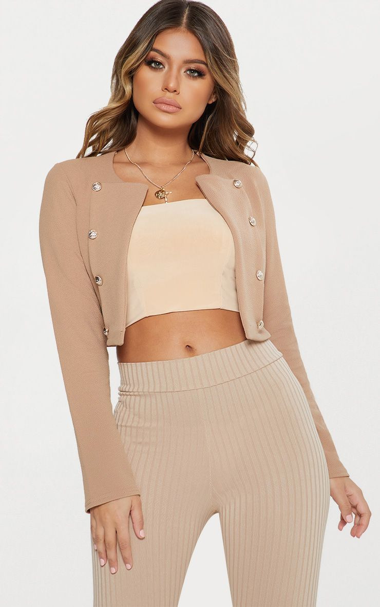 Camel Military Cropped Jacket