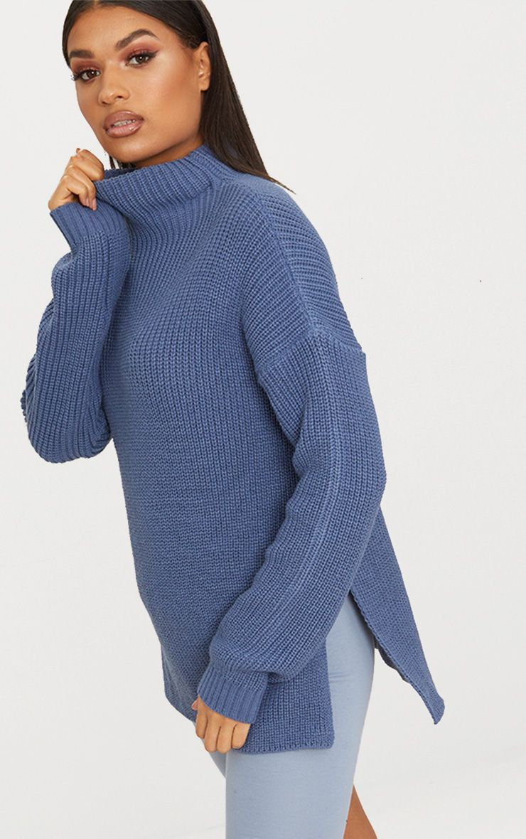 Charcoal Blue High Neck Oversized Jumper