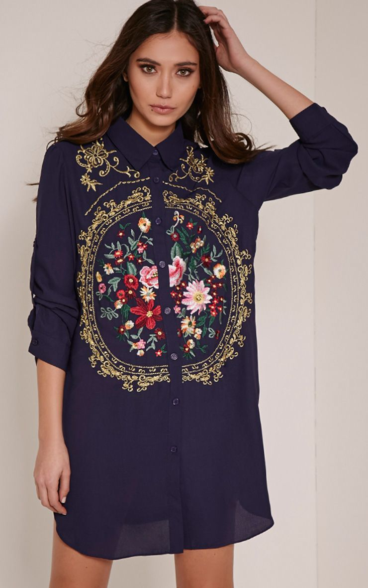 Lyron Navy Embroidered Sheer Shirt Dress 1