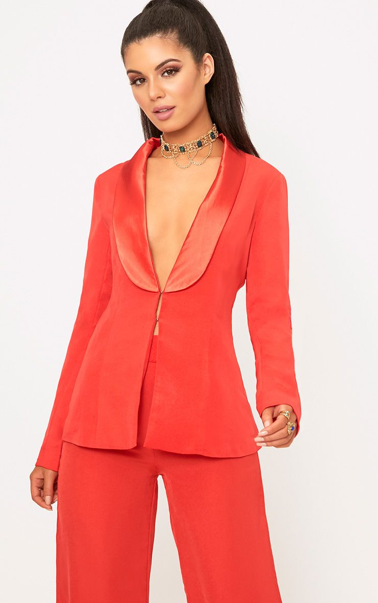 Red Satin Lapel Suit Jacket 1
