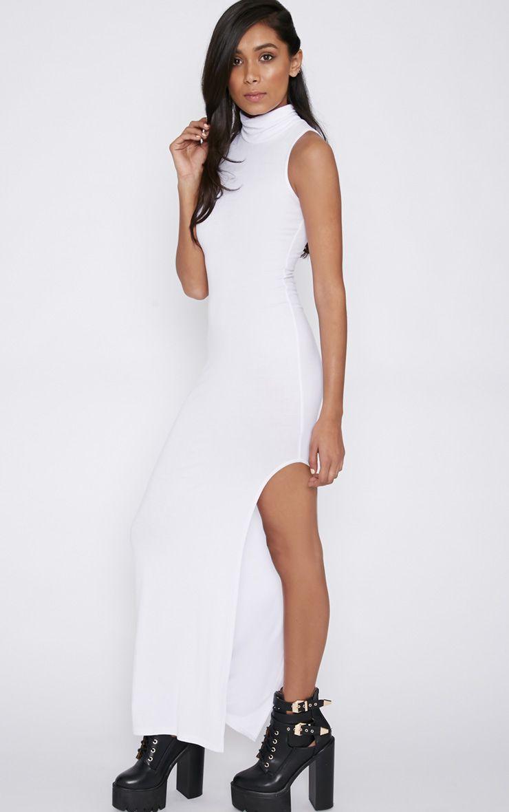 Daisy White High Neck Jersey Maxi Dress 1