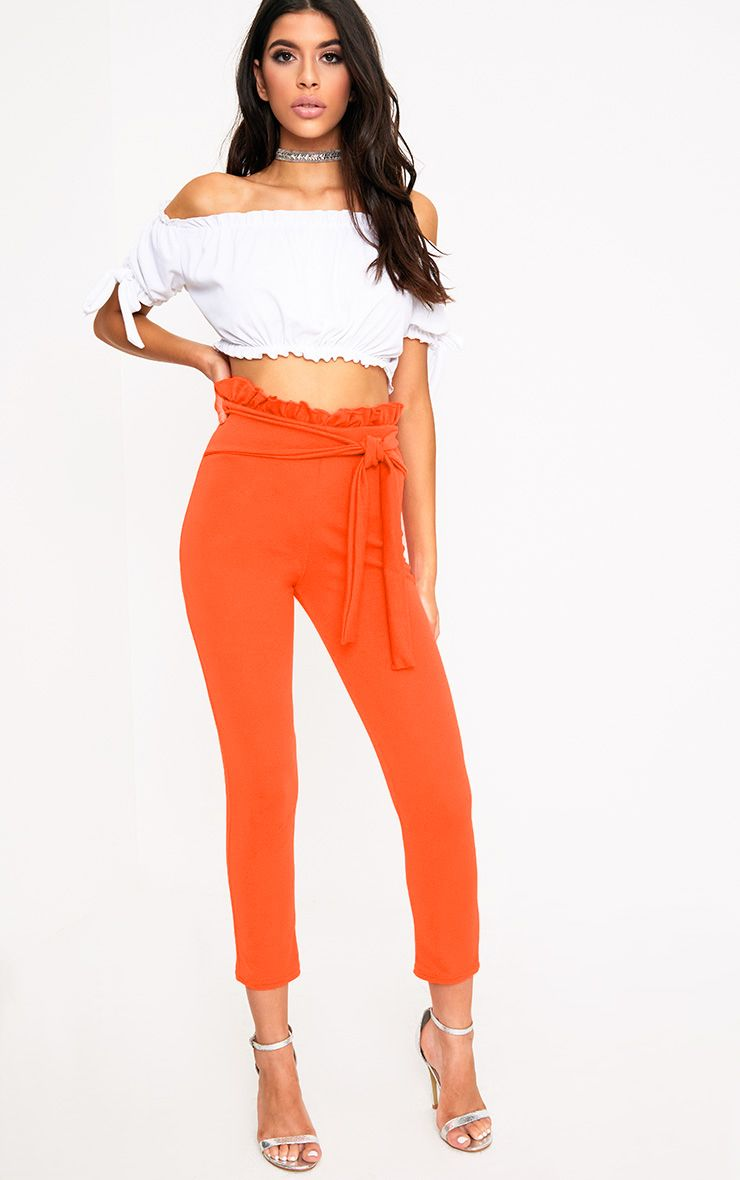 Orange Paperbag Tie Waist Cropped Trousers