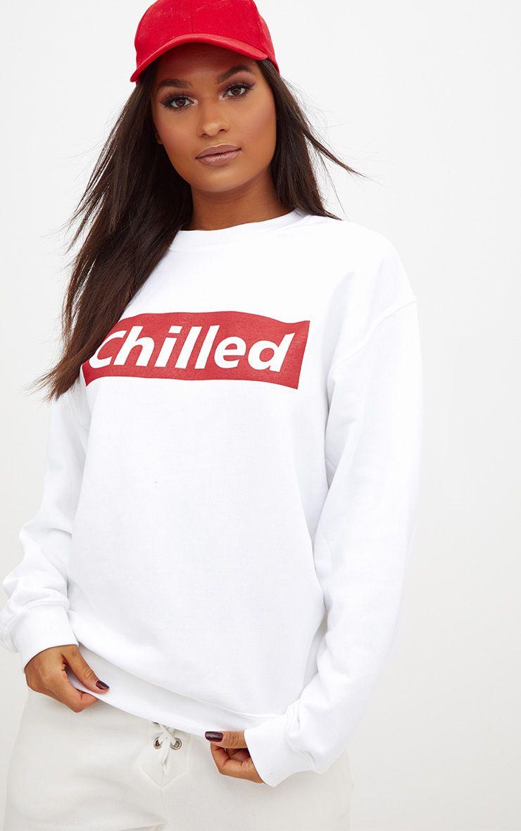 White Chilled Slogan Sweater