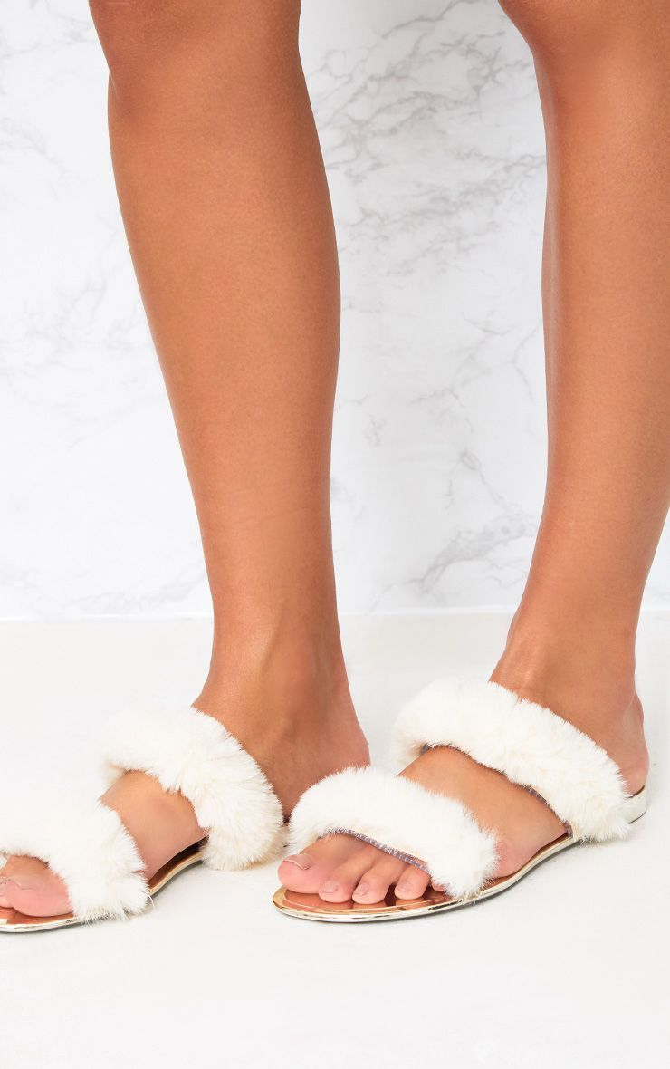 Cream Faux Fur Double Strap Sandals