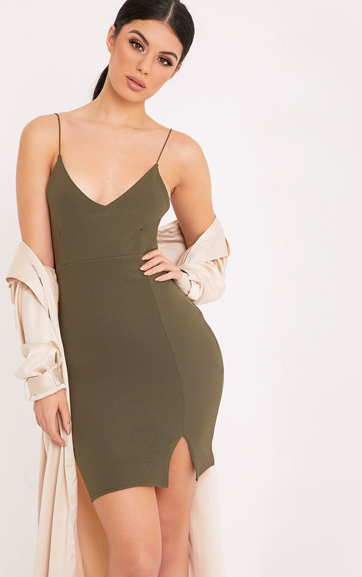 Camayah Khaki Strappy Plunge Bodycon Dress