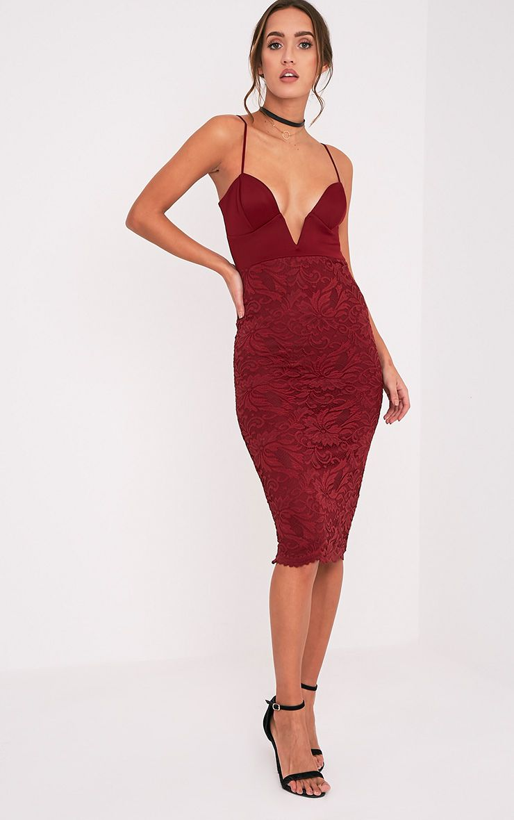 Nikolah Wine Plunge Lace Skirt Midi Dress