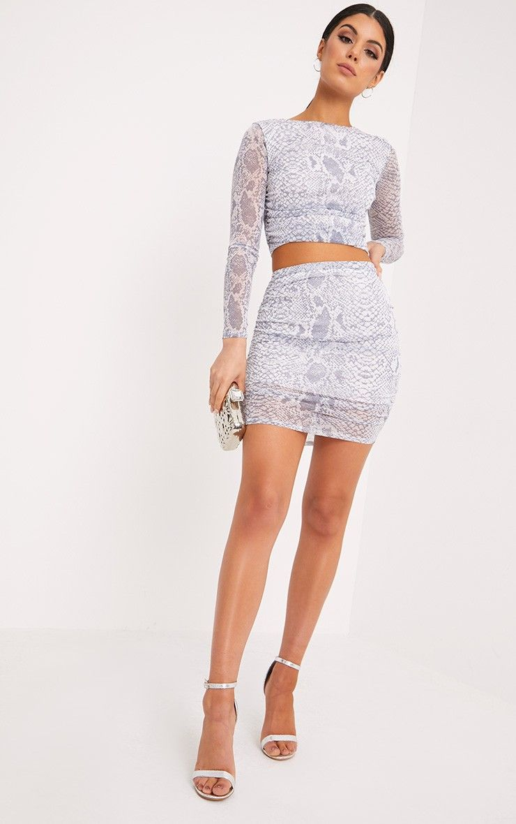 Dreis Grey Snake Print Chiffon Mini Skirt