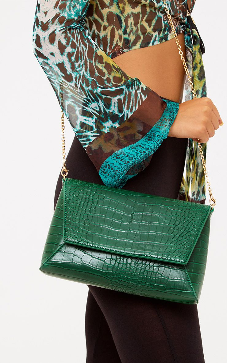 Green Reptile Structured Shoulder Bag
