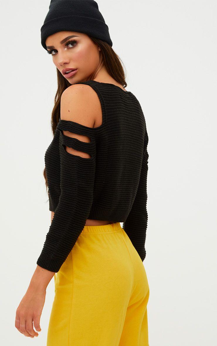 Black Cut Out Shoulder Knitted Jumper