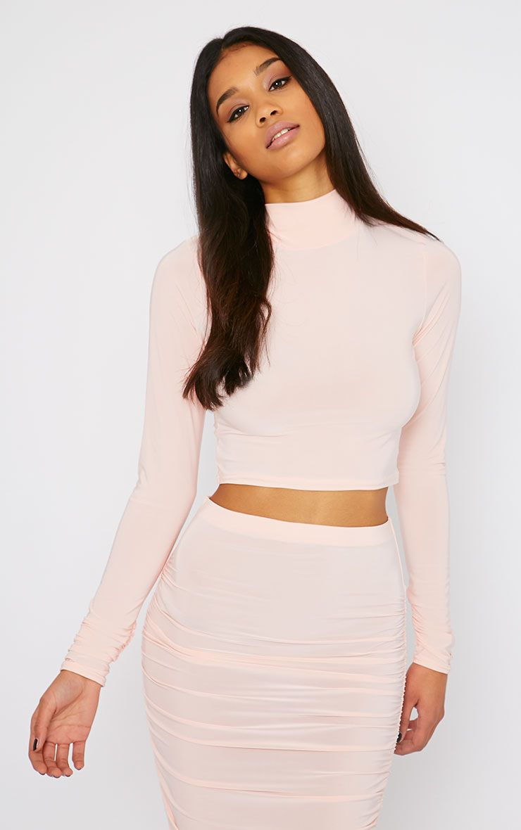 Saylor Pink Slinky Turtle Neck Crop Top 1