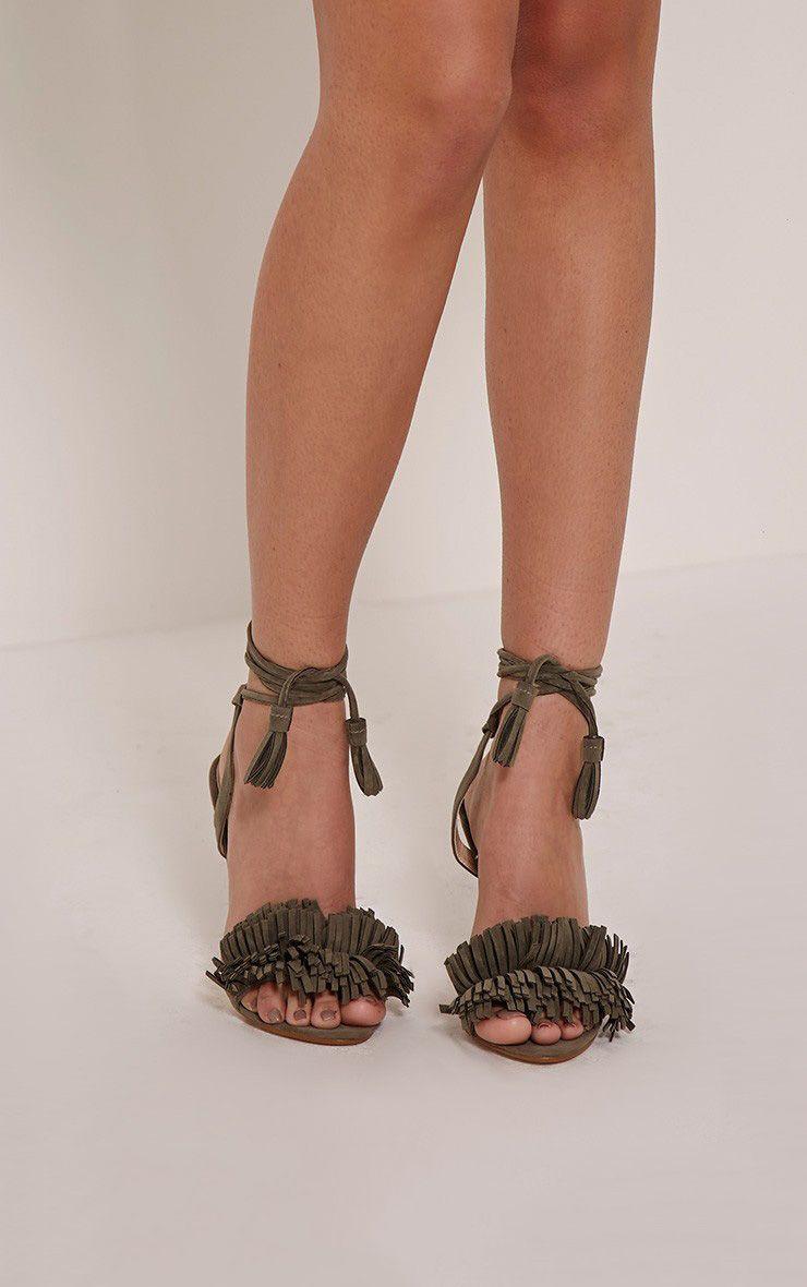 Alicia Khaki Fringe Detail Shoe 1