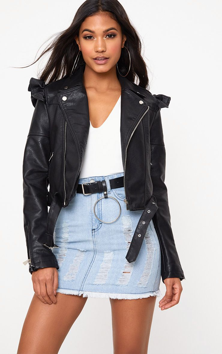 Black Frill Shoulder PU Biker Jacket