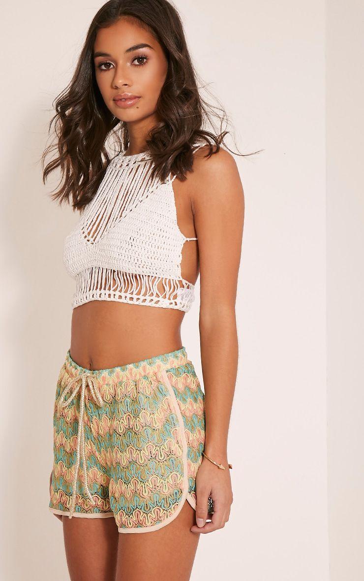 Jillian Neon Turquoise Crochet Shorts