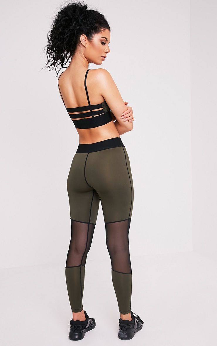 Leona Khaki Mesh Panelled Gym Leggings