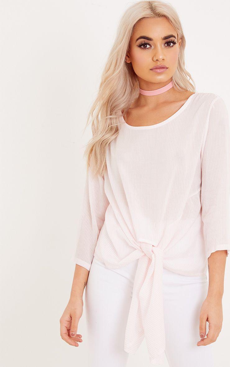 Waiola Pink Stripe Tie Front Shirt