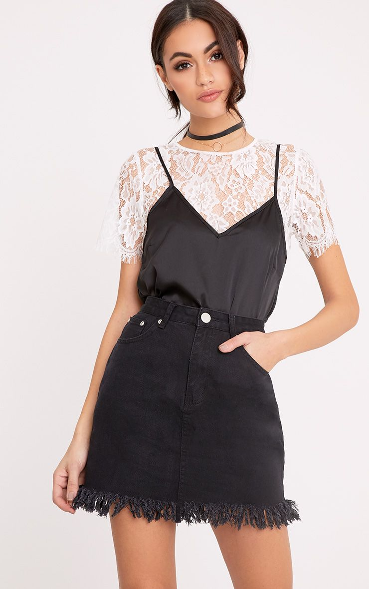 Jasminda Black Fringe Hem Denim Mini Skirt