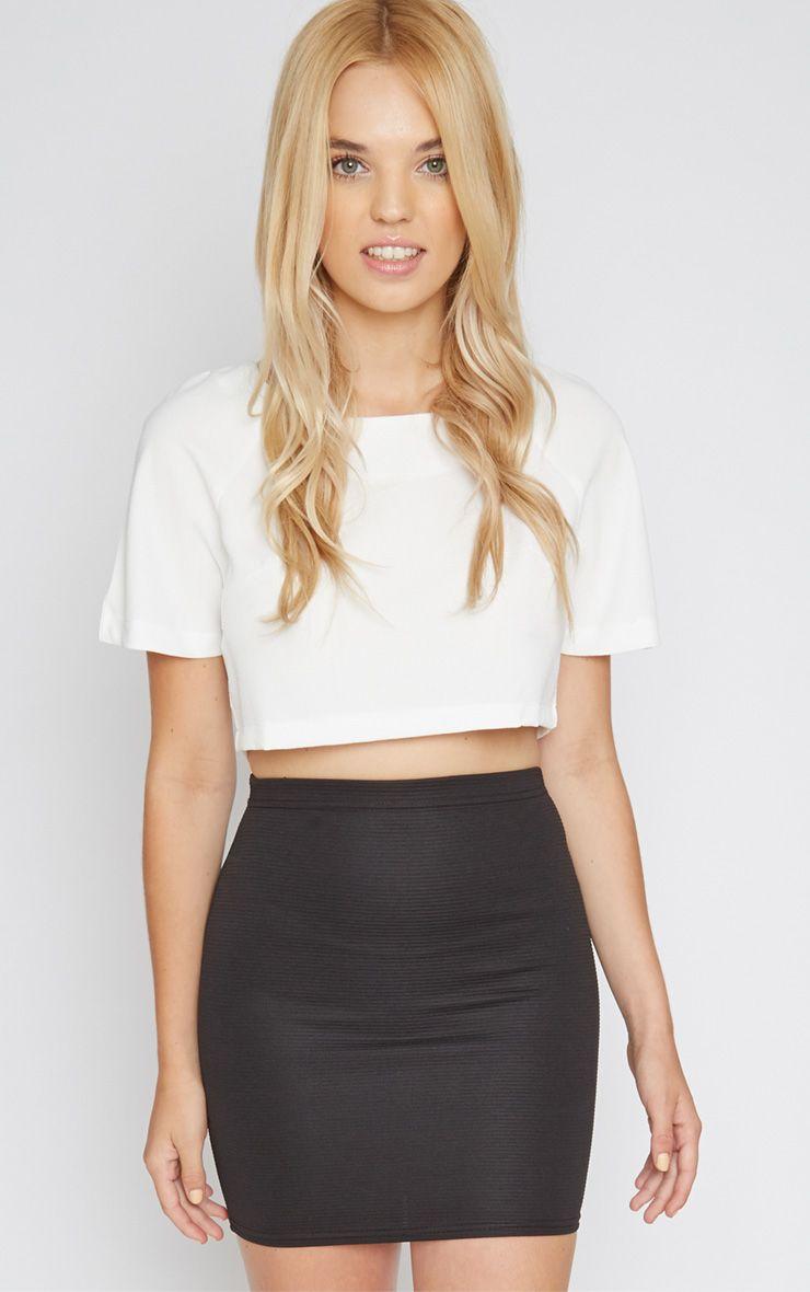 Christy Black Ribbed Mini Skirt  1