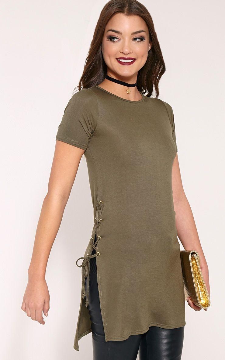 Andromeda Khaki Eyelet Tie Side Jersey T-Shirt 1