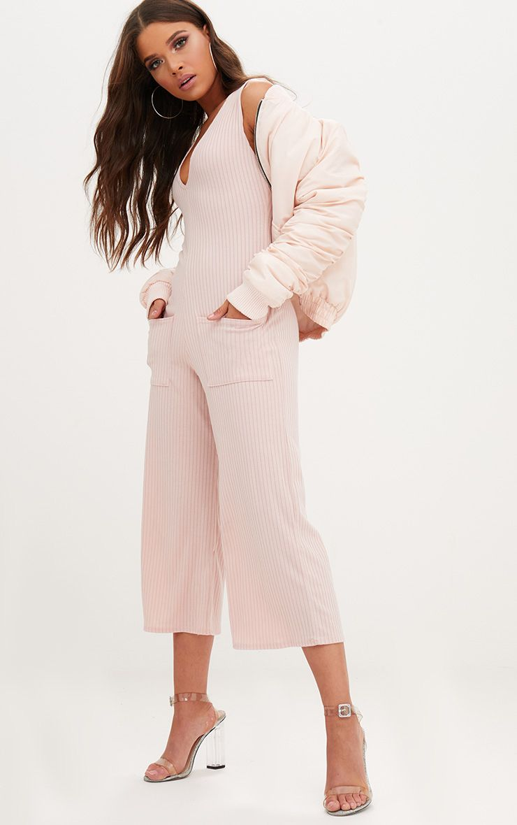 Pink Ribbed Culotte Pocket Jumpsuit